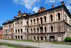 ruinas Casa histórica del ` del monumento del comerciante del ` de Vilner La ciudad de Minusinsk, Siberia Imagen de archivo
