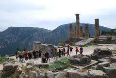 Ruinas de Delphi en Grecia que mira en las montañas Fotografía de archivo