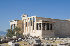 Ruinas de Erechtheion en acrópolis Imagen de archivo libre de regalías