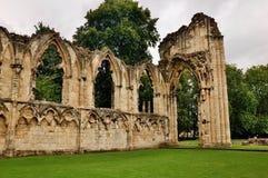 Ruinas de la abadía del St. Maria, York Fotografía de archivo