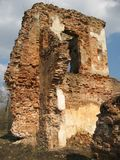 Ruinas de la cerradura de Krevsky Ladrillo rojo belarus Imagen de archivo