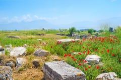 Ruinas de la ciudad antigua de Hierapolis Imágenes de archivo libres de regalías