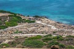 Ruinas de la ciudad antigua de Tharros en Cerdeña fotografía de archivo