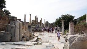 Ruinas de la ciudad antigua de Ephesus en Esmirna almacen de video