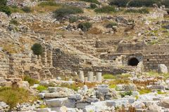 Ruinas de la ciudad antigua de Knidos en Turquía imagen de archivo