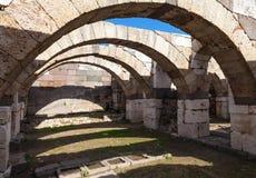 Ruinas de la ciudad antigua Smyrna Esmirna, Turquía Foto de archivo libre de regalías