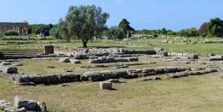 Ruinas de la ciudad Paestum del griego clásico Foto de archivo