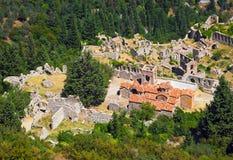 Ruinas de la ciudad vieja en Mystras, Grecia Imágenes de archivo libres de regalías