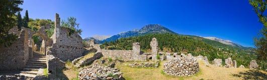 Ruinas de la ciudad vieja en Mystras, Grecia Foto de archivo libre de regalías