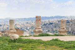 Ruinas de la ciudadela de Amman en Jordania Fotografía de archivo