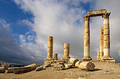 Ruinas de la ciudadela en Amman en Jordania. Imagen de archivo libre de regalías