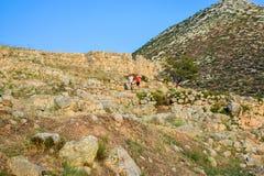 Ruinas de la ciudadela de Mycenae, Grecia Imagenes de archivo