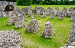 Ruinas de la cripta en St Augustine y x27; abadía de s en Cantorbery, Kent, Reino Unido imagen de archivo