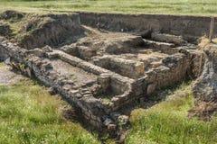 Ruinas de la fortaleza antigua Durostorum, cerca de Silistra - Bulgaria Fotografía de archivo libre de regalías