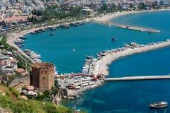 Ruinas de la fortaleza del otomano en Alanya imagen de archivo