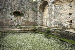 Ruinas de la piscina antigua del baño de Fausta en la ciudad antigua de Miletus, Turquía imagen de archivo