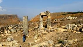 Ruinas de la sinagoga en el soporte Arbel Fotos de archivo