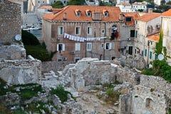Ruinas de las casas en el centro de Dubrovnik Imagenes de archivo