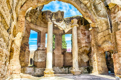 Ruinas de los grandes baños en el chalet Adriana, Tivoli Imagen de archivo