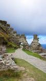 Ruinas de Tintagel del castillo de rey Arturo imagen de archivo