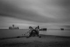 Ruinas de Torpedownia viejo Hexengrund en el mar Báltico en Babie Doly, Gdynia, Polonia Imagenes de archivo