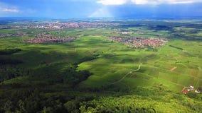 Ruinas de tres castillos cerca de Colmar, Alsacia Opinión aérea del abejón metrajes