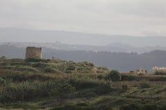 Ruinas de un molino de viento Fotografía de archivo libre de regalías