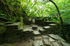 Ruinas de un molino viejo en el parque natural fotos de archivo