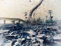 Ruinas de una ciudad y de un tornado ilustración del vector