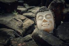 Ruinas de una imagen Headl de Buda en el templo de Phutthaisawan en el parque histórico de Ayuthaya, sitio del patrimonio mundial Fotografía de archivo libre de regalías