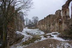 Ruinas del castillo de Dobele en invierno Foto de archivo