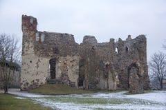 Ruinas del castillo de Dobele en invierno Fotografía de archivo