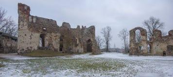 Ruinas del castillo de Dobele en invierno Foto de archivo libre de regalías