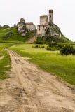 Ruinas del castillo de Olsztyn en el ensayo de las jerarquías del Eagles imagen de archivo libre de regalías