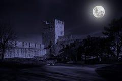 Ruinas del castillo viejo en claro de luna del misterio fotografía de archivo