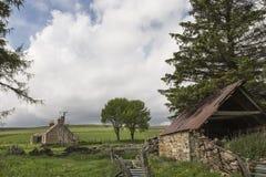 Ruinas del cercado en Aldivalloch en el Cabrach Fotografía de archivo