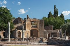 Ruinas del complejo antiguo de Hadrian Villa, Tivoli imagen de archivo