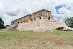 Ruinas del cuadrilátero del convento de monjas, un antiguo de la cultura maya en Uxmal, Yucatán, México foto de archivo libre de regalías