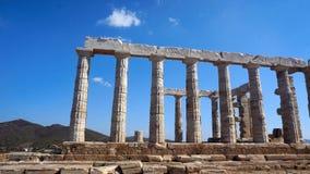 Ruinas del griego clásico del templo de dios Poseidon metrajes