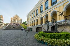 Ruinas del ` s de San Pablo Construido a partir de 1602 a 1640, una de las señales más conocidas del ` s de Macao En 2005, fueron foto de archivo libre de regalías