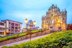 Ruinas del ` s de San Pablo en la noche Foto de archivo libre de regalías