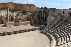 Ruinas del teatro antiguo de Beth-Shean Foto de archivo libre de regalías