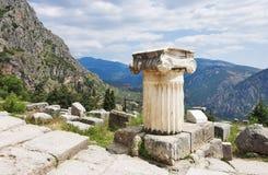 Ruinas del templo de Apolo en Delphi Imagenes de archivo