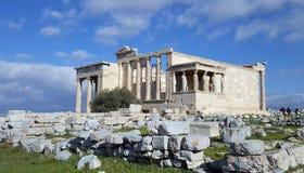 Ruinas del templo de Erechtheion en la acrópolis, Atenas, Grecia fotografía de archivo libre de regalías