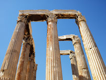 Ruinas del templo olímpico del Zeus, visión central Fotos de archivo libres de regalías