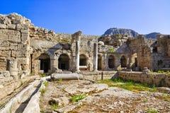Ruinas en Corinth, Grecia Imágenes de archivo libres de regalías