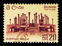 Ruinas en Madirigiriya, serie definitivo 1964-72 del problema, circa 196 Imágenes de archivo libres de regalías