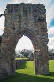 Ruinas históricas de la abadía de Basingwerk en pradera, cerca de Holywell País de Gales del norte Imagen de archivo