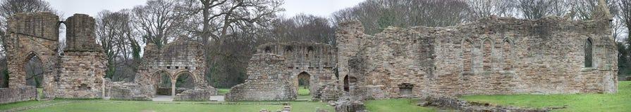 Ruinas históricas de la abadía de Basingwerk en pradera, cerca de Holywell País de Gales del norte Fotografía de archivo