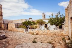 Ruinas historia de Creta, Grecia antigua de Aptera imagenes de archivo